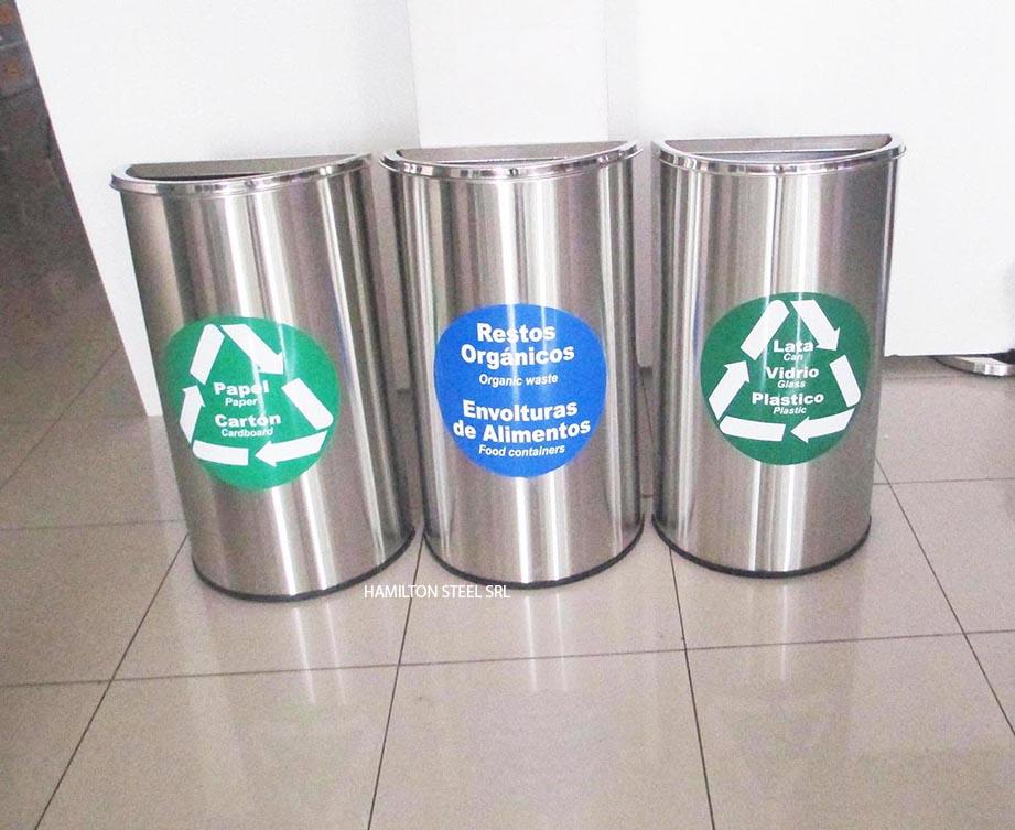 Hamilton steel srl ordenadores de fila papeleras de acero inoxidable tachos de basura - Contenedores de basura para reciclaje ...